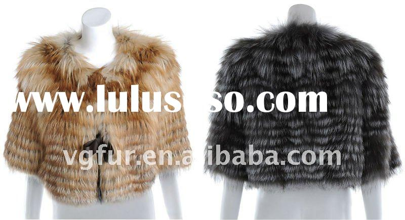 Genuine silver fox fur coat for women ,VG-194