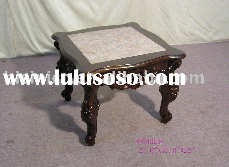 Hand carved antique end table with marble top,coffee table