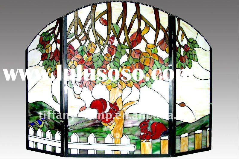 Hand crafted tiffany glass hinged iron fireplace screen