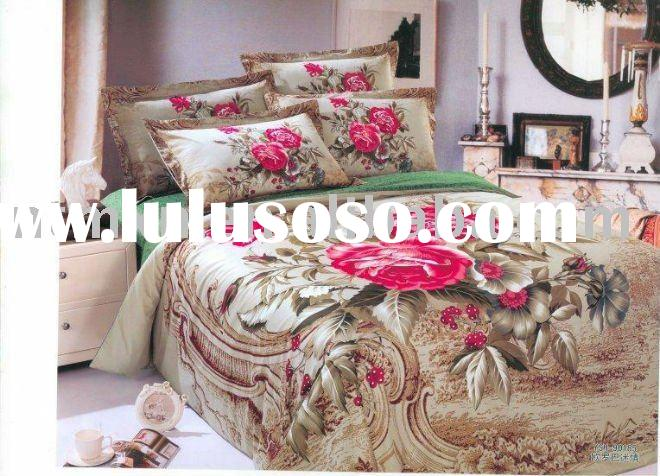 High Quality, 100% Cotton 133/72 Reactive Printed Twill 4pc Bedding Set, New Arrival, Brown Color, D