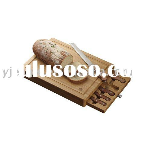 Hot-sell 6pcs kitchen knife set with wooden box/bread board