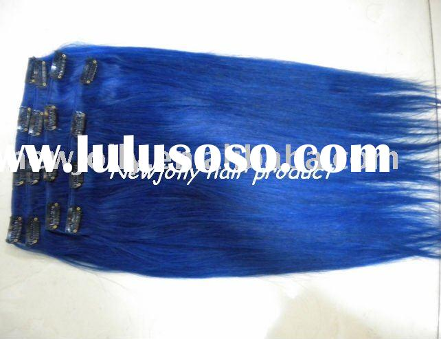 Human remy clip in hair extensions, blue color