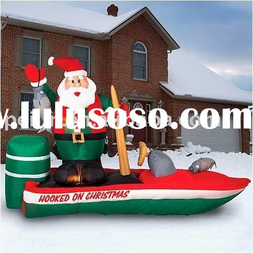 Inflatable Santa Hooked On Christmas Bass Boat