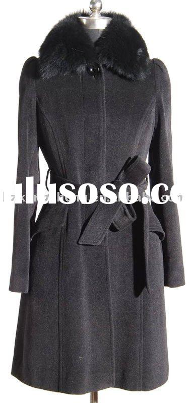LADIES CASHMERE/WOOL FABRIC COAT TRIM WITH FOX FUR COLLAR