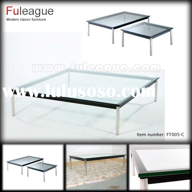 LE CORBUSIER COFFEE TABLE---LC10 GLASS COFFEE TABLE LACQUER COFFEE TABLE SQUARE COFFEE TABLE---LC10