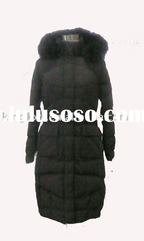 Ladies' long down coat with fur hood