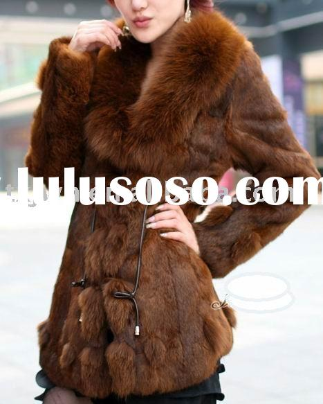 Ladies' long fashion rabbit fur coat with fox fur collar