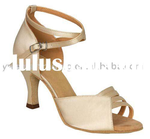 Ladies Women Ballroom Dance Shoes for Latin Salsa Tango SERA1692 Beige Brown Leather & FM 2.5&quot
