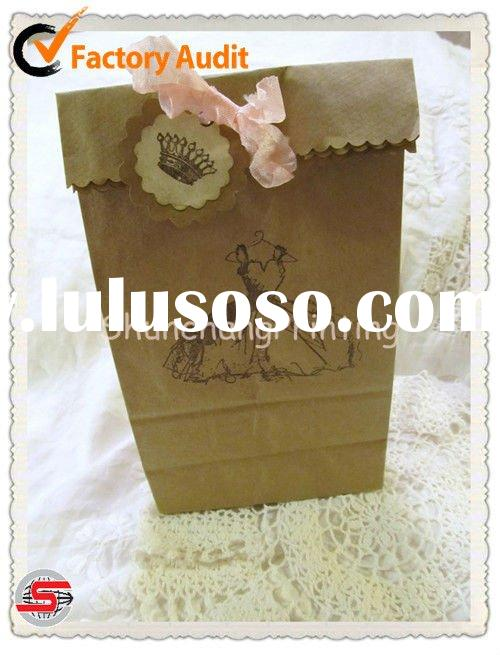 Little French Princess Dress Kraft Paper Favor Gift Bags with Tag