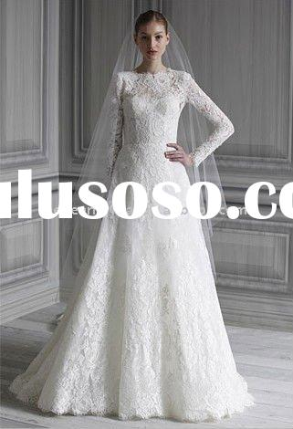 Long sleeves a line chapel train vintage lace wedding dresses 2011 M1504