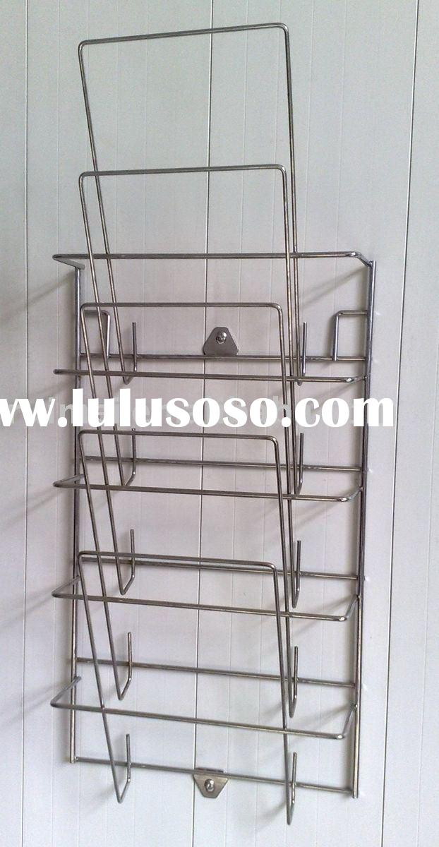Magazine Rack Steel Wire Rack Book Holder Magazine Display Shelf Literature Wall Style Stand