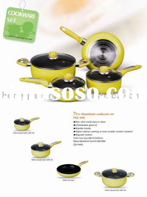 Magnetic bottom 7pcs non-stick Aluminium cookware set