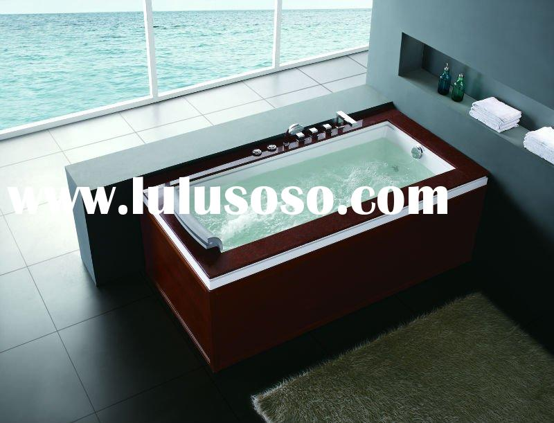 Massage bathtub whirlpool bathtub marble top frame with wooden skirt