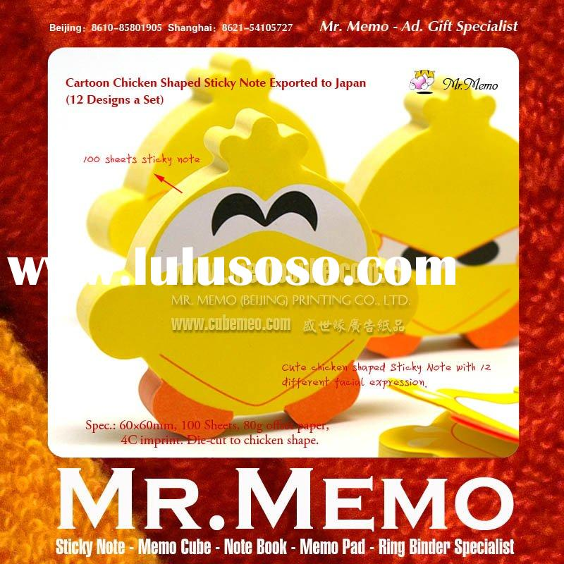 Note Sticky/ Cartoon Chicken Shaped Sticky Note/Memo Pad/ Notepad for Japanese Client