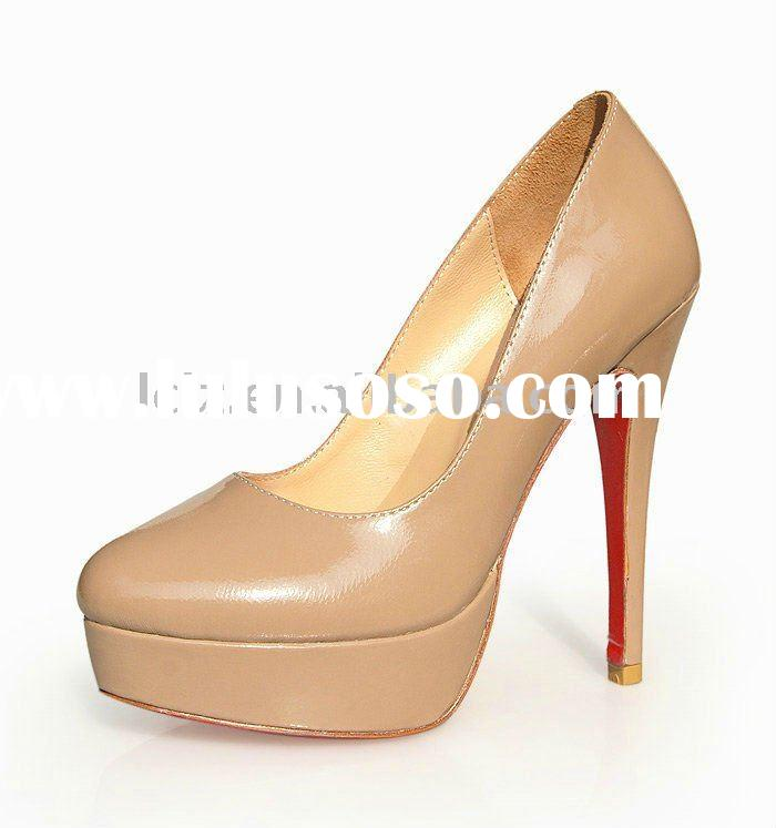 Nude colour thick platform high heeled brand name shoes CLF051 free shipping