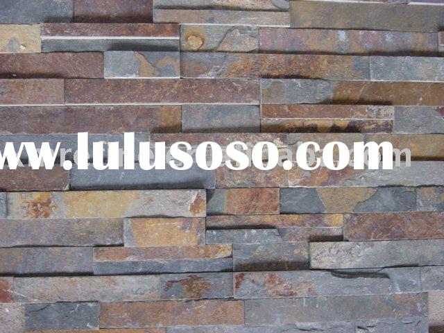 Plan rusty slate stacked stone tiles