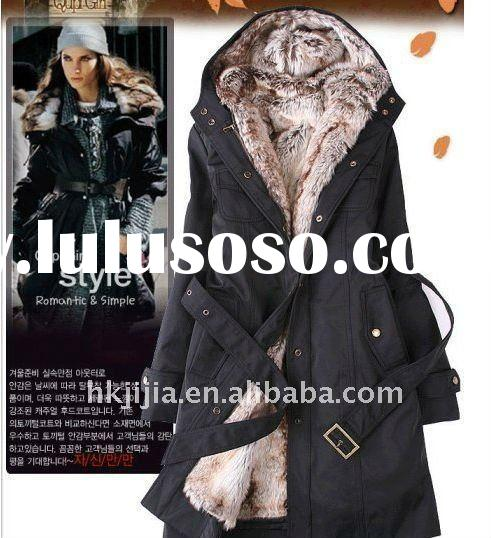 Plus Size Thicken Faux Fur Lining Long Winter Women Coat