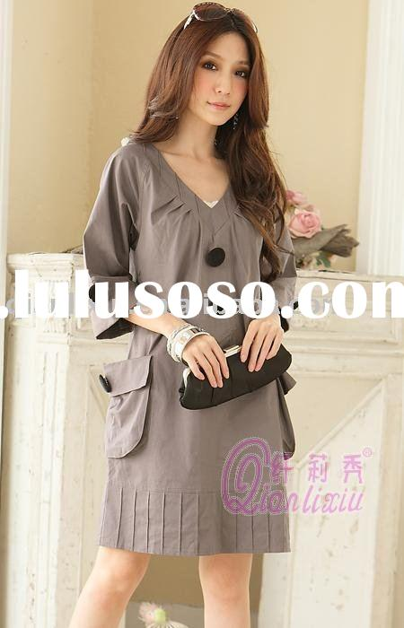 Plus size one-piece dress,Korean style,V-neck (Q1800)