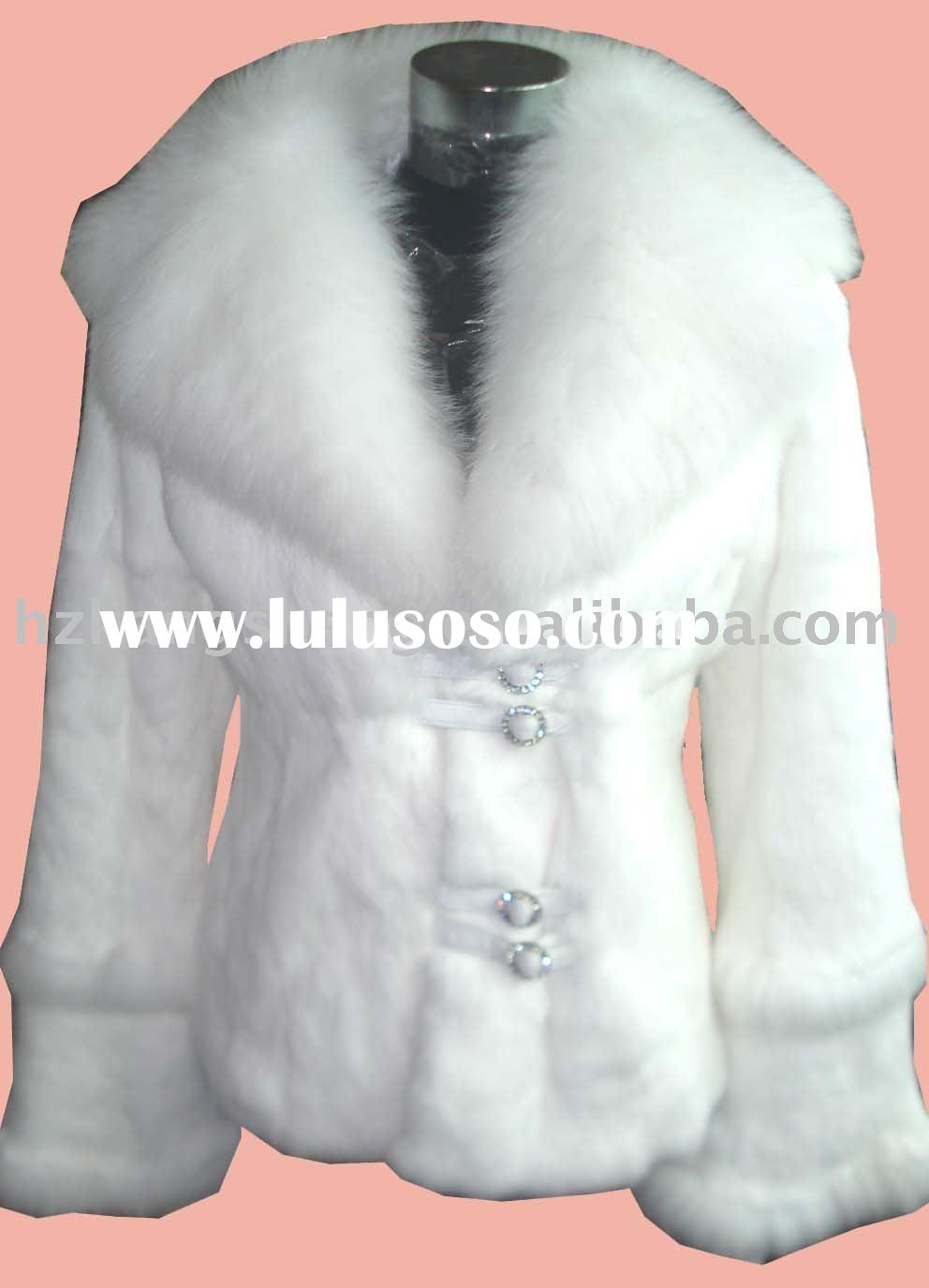 Sell Ladies' Rabbit Fur Garment trim with fox fur collar fur coat