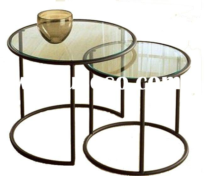 Set of 2 nesting coffee tables - Glass & Metal