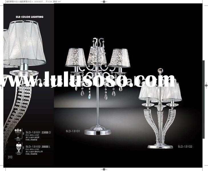 Silver lampshade crystal chandelier table light desk lamp