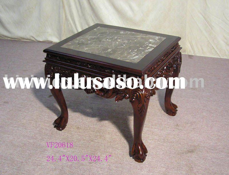 Solid wood hand carved coffee table with marble top,antique home furniture