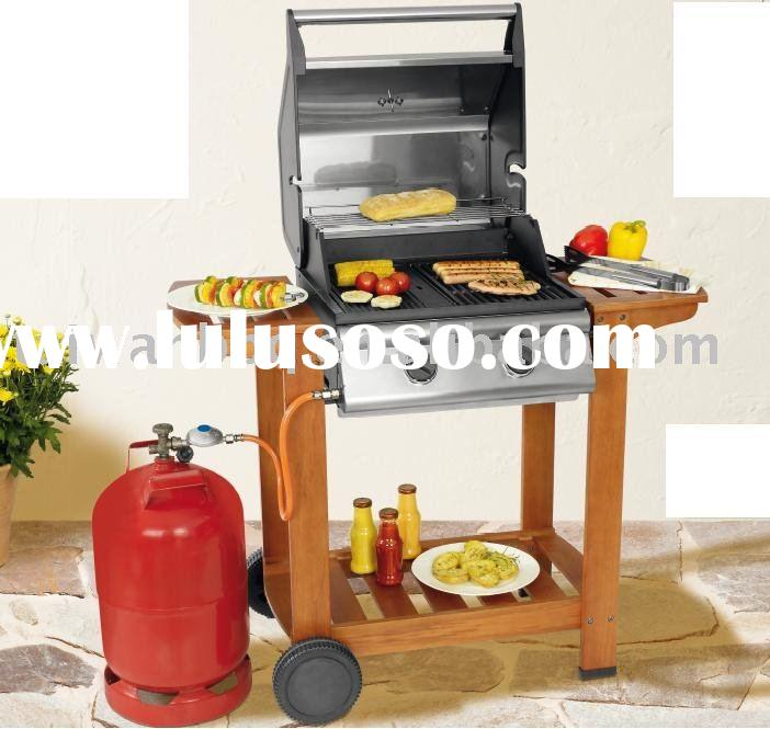 Stainless Steel Wooden Trolley 2Burner BBQ Gas Grill