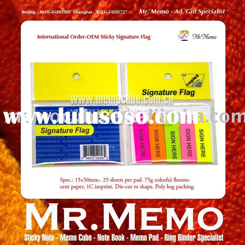 Sticky Note,notepad,notebook,memo pad, note book - Signature Flag