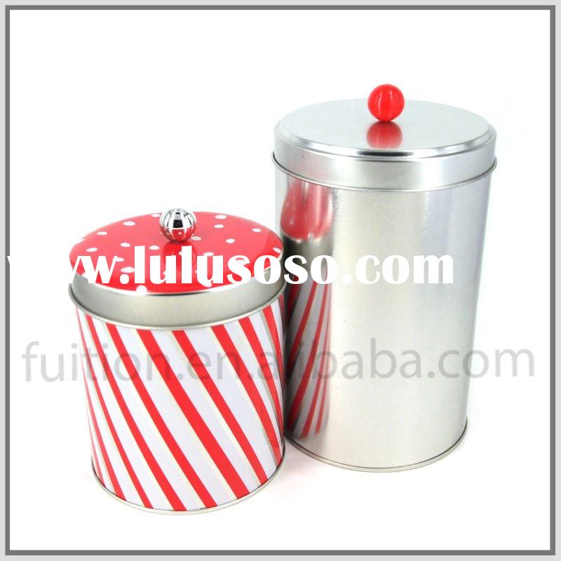 Tall Round Tea, Coffee Tin Can Container with Plastic Knob