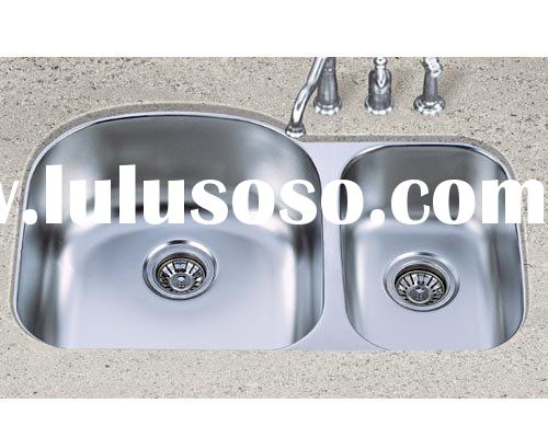 Undermount Double Bowl Stainless Steel Sink with Granite Counter Top