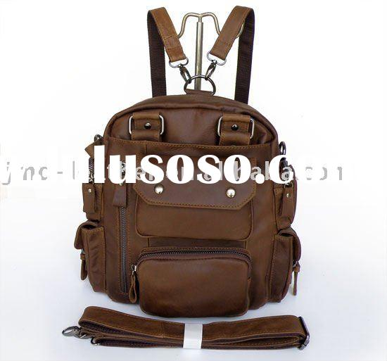Unique Vintage Tan Leather Dark Brown Handbag Backpack Bag
