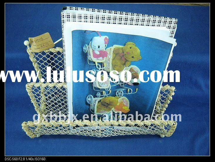 White wire woven magazine&file storage holders&racks