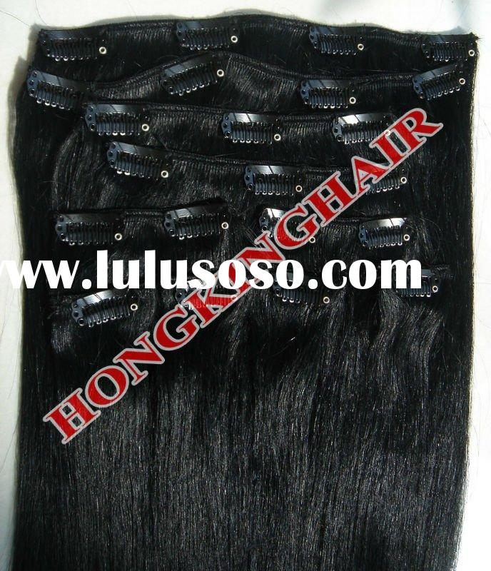 """Wholesale 100% human remy clip in hair extensions for black women, 20"""" 130g 10 pcs per set"""