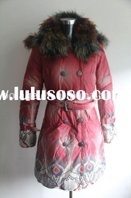 Wholesale Lady's Down Jacket with Racoon Fur Collar