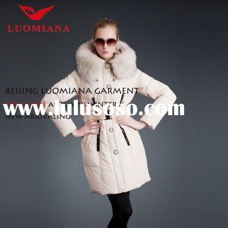 Women White Goose Down Coats Jackets With Fur Hood