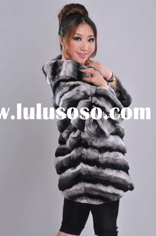 Women's Hooded Chinchilla Rabbit Fur Coat