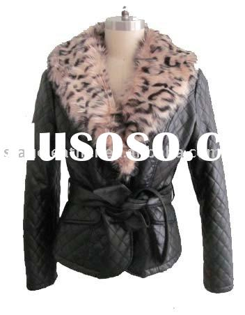 Women's Leather Jackets with faux fur large collar