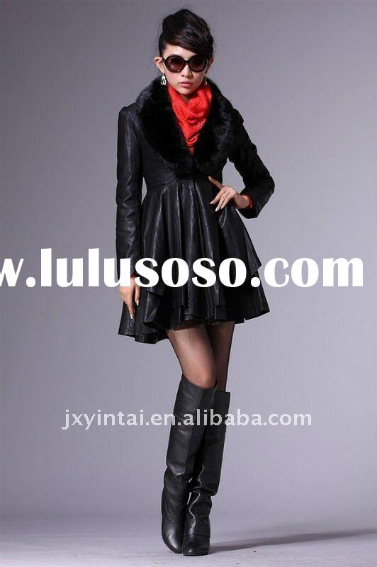 Women winter leather jacket and long coats fur collar