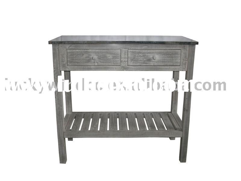 antique wooden table with zinc top