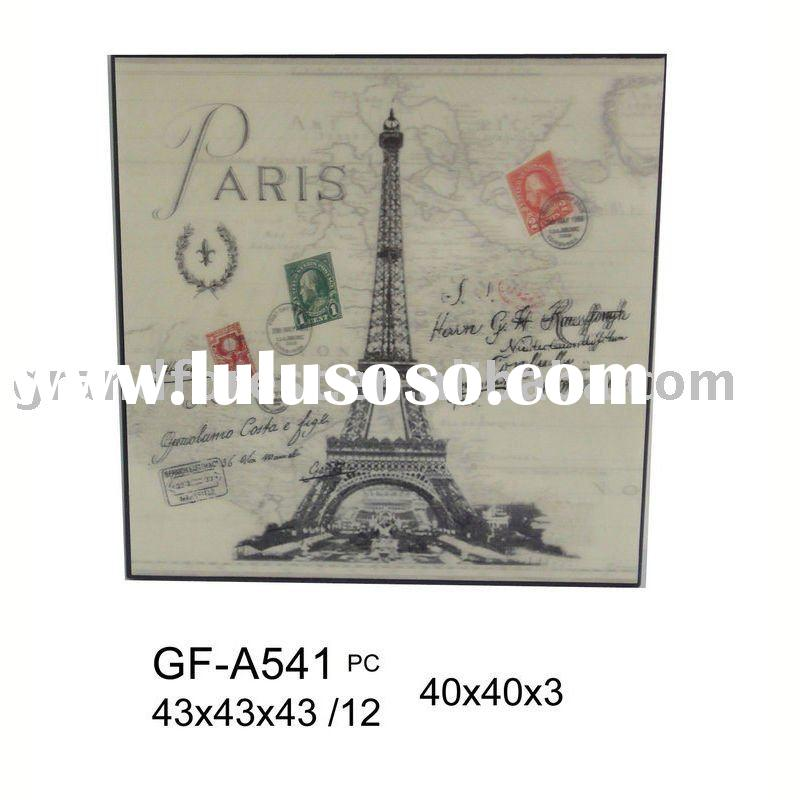 canvas wall art Eiffel Tower stamp