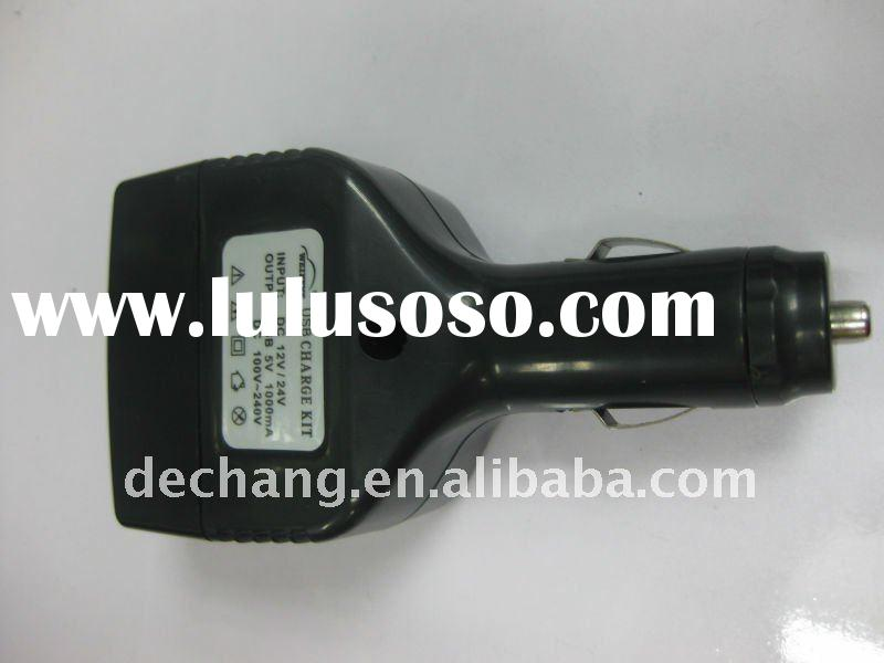 car charger adapter for iphone4 with usb and socket