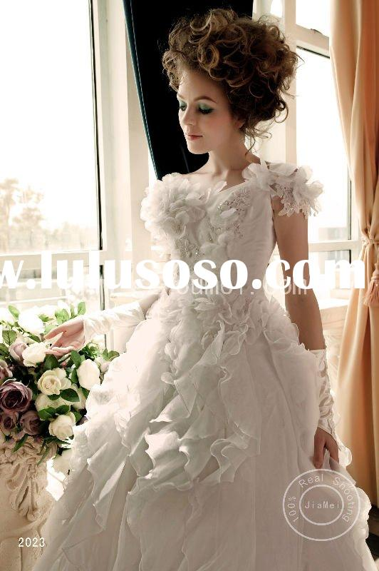 cinderella costume wedding dress beads lace ribbons organza ruched crystal train bbridal gown