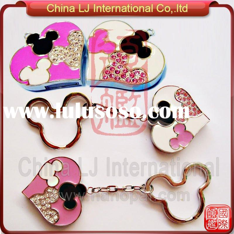 cute mickey usb pendrive, crystal mickey mouse necklace usb memory sitck