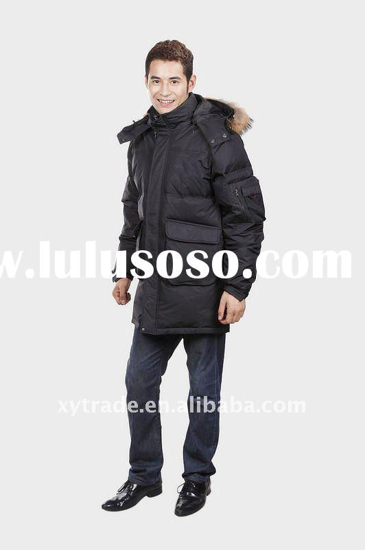 fashion design goose down filled long winter coat for men