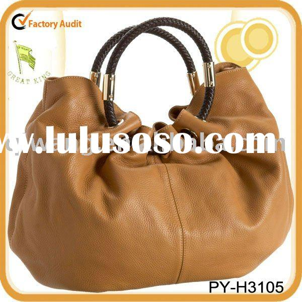fashion lady satchel gathered leather handbag with woven brown trim