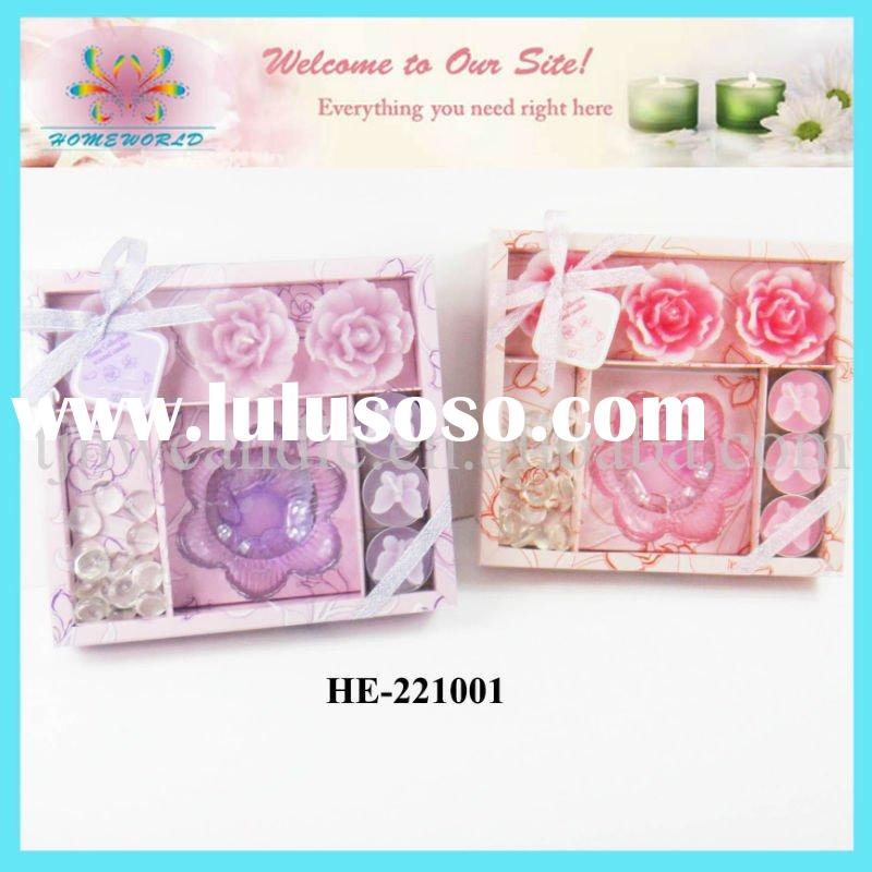 flower shape candle with holder in gift set