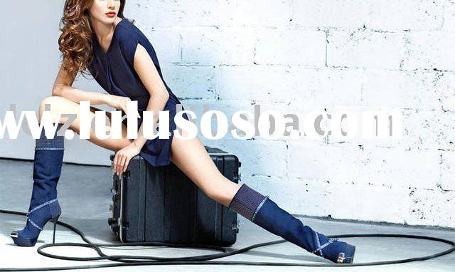 g014 dark blue suede over knee lady high heel dress boots fashion gala pumps shoes