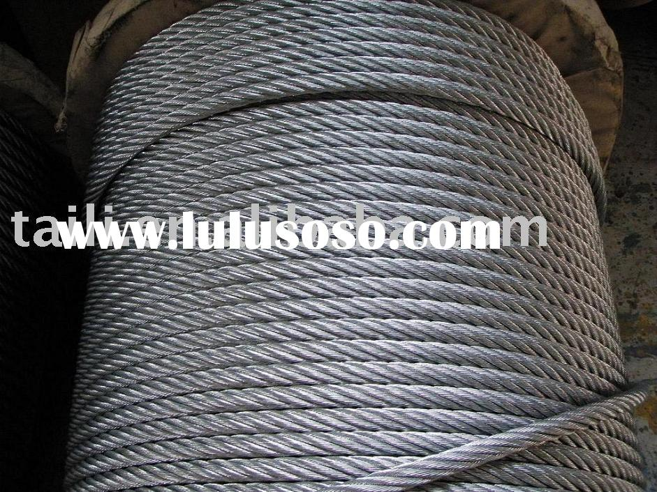 galvanized/ ungalvanized steel wire rope, 6*19+IWRC galvanized for crane use
