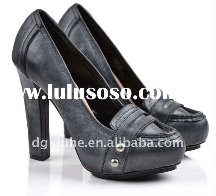 grey rub-off,high heel, inner platform,ladies fashion leather shoes