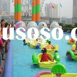 inflatable pool with hand power boats for water games